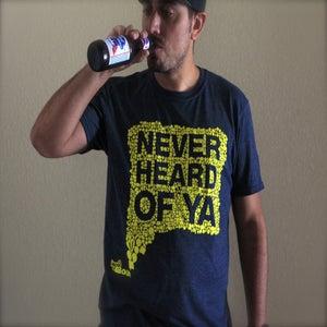 Image of Never Heard Of Ya T-Shirt - DARK HEATHER GRAY w/ YELLOW INK
