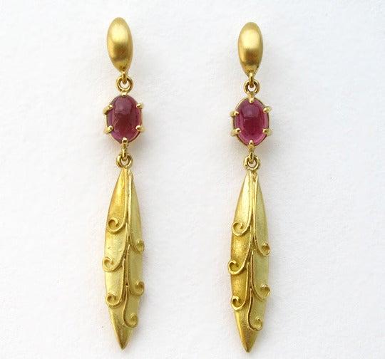Image of Tourmaline Antique Bead Dangle Earrings 18k