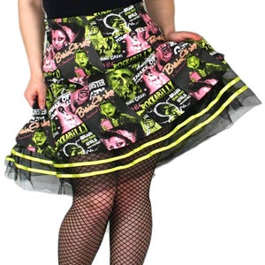 Image of Psychobilly Zombie Pinup Monster Girls Skirt