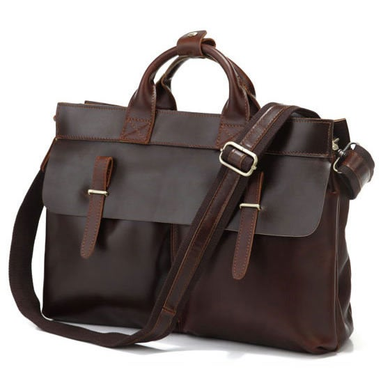 "Image of Vintage Handmade Leather Briefcase / Messenger / 13"" 15"" MacBook Pro or 13"" 14"" 15"" Laptop Bag (n75)"