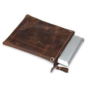 Image of Vintage Handmade Antique Genuine Leather iPad Bag / Messenger Bag in Dark Brown (n80)
