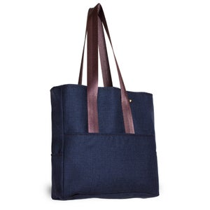Image of Pocket Tote - Navy Plaid Wool
