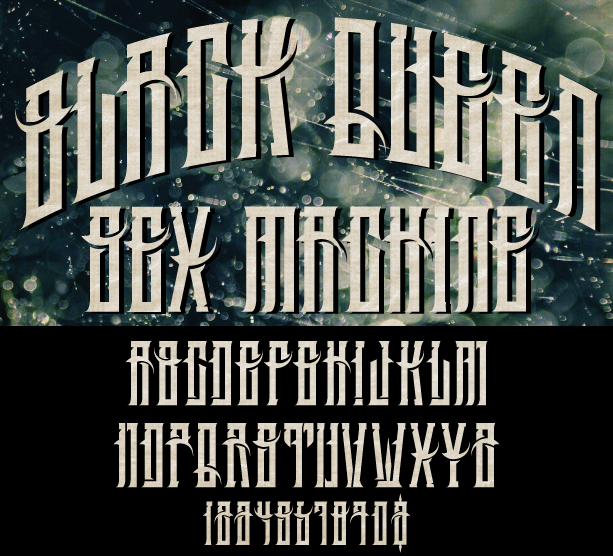 Image of BLACK QUEEN SEX MACHINE CUSTOM FONT