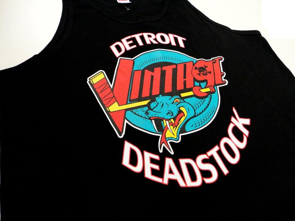 Image of Detroit Deadstock Vintage Vipers Logo Flip Black Tank Top Shirt