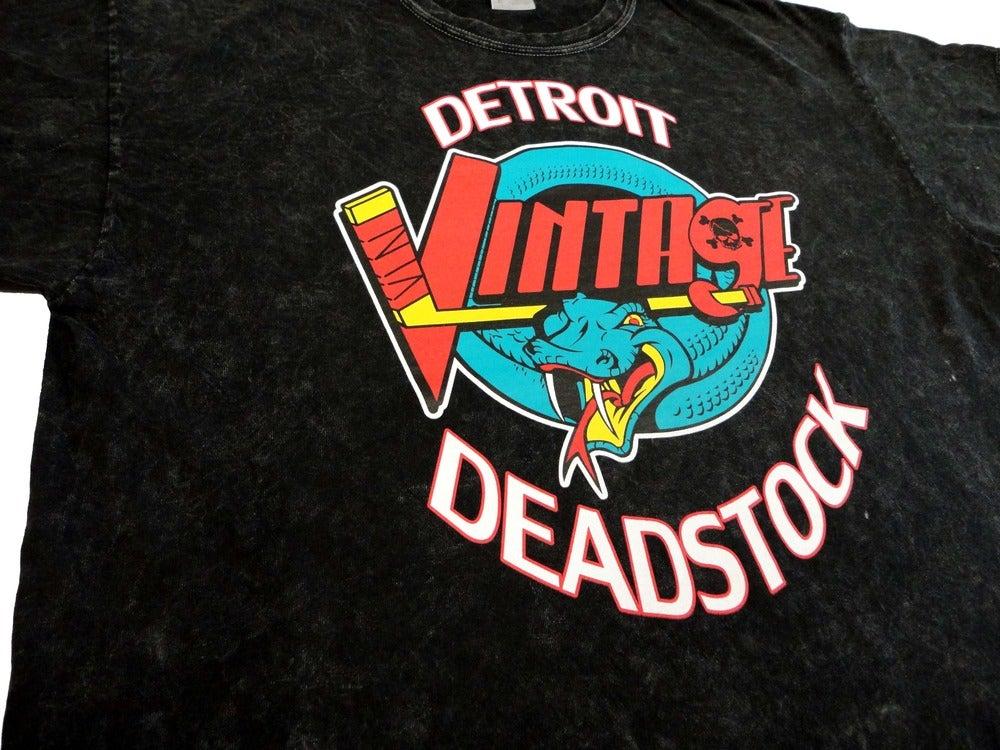 Image of Detroit Deadstock Vintage Vipers Logo Flip Acid-Wash Black Tee Shirt