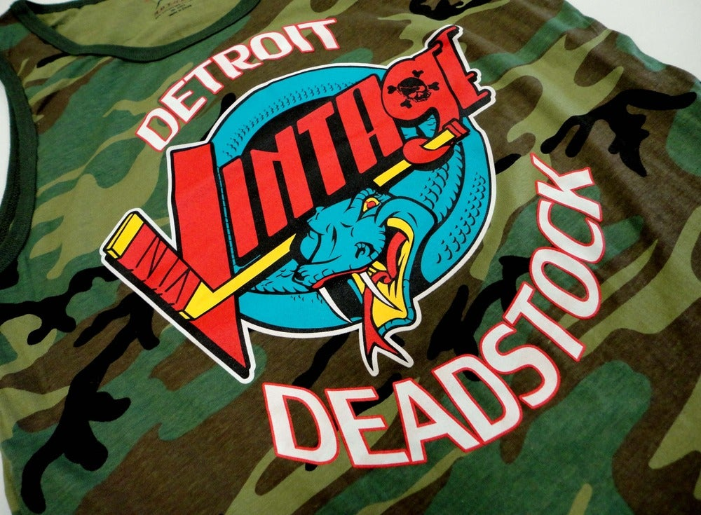 Image of Detroit Deadstock Vintage Vipers Logo Flip Camo Tank Top Shirt
