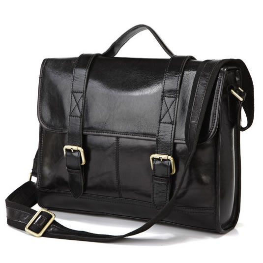 "Image of Vintage Handmade Genuine Leather Briefcase Messenger 14"" Laptop / 13"" MacBook Bag in Black (n76)"