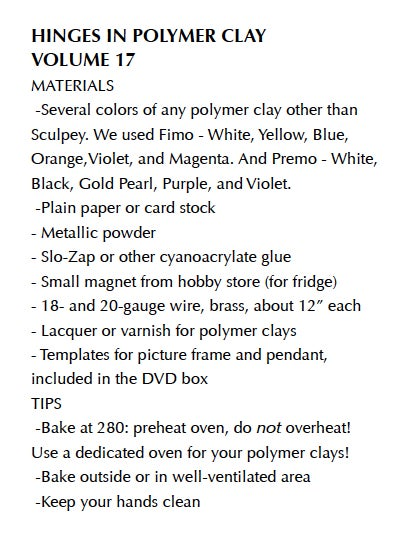 """Image of MP4: """"Hinges and HInging Techniques in Polymer"""" Mastering the New Clay DVD volume 17"""