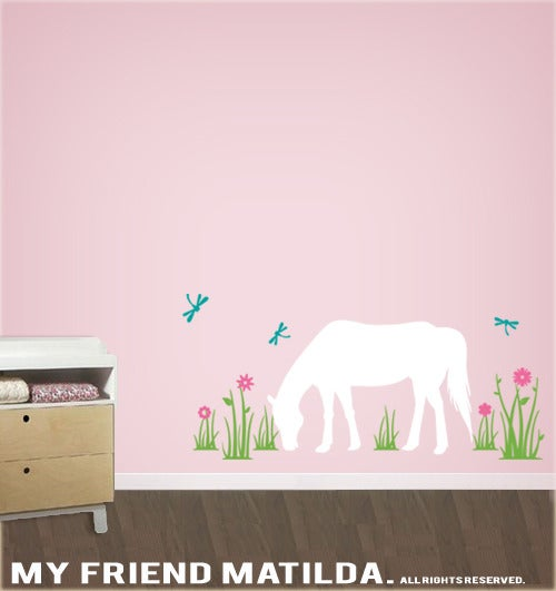Horse In The Field Wall Decal Sticker M011 Girls Theme Bedroom Decor Removable Wall Decals