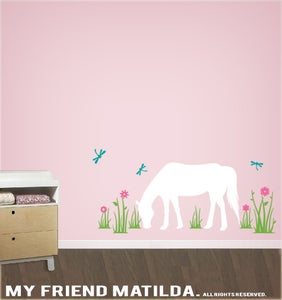 Image of Horse in the Field Wall Decal Sticker M011 Girls Theme Bedroom Decor