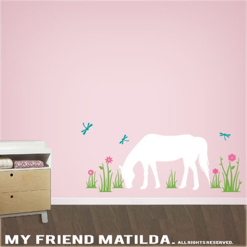 horse in the field wall decal sticker m011 girls theme bedroom decor
