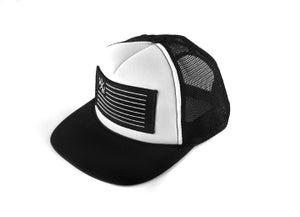 "Image of ""SpeedCorps"" Trucker Hat, Black/White (P1B-T0513)"