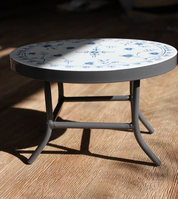 ... Image Of Vintage Style Metal Cafe Table + 2 Chairs