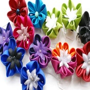 Image of Small Kanzashi Flowers - Brooches/Hairclips - Round Petals- Choose your colour