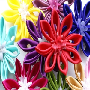 Image of Medium Kanzashi Flower Hair Clip / Fascinator / Brooch - Single Layer - Choose your colour