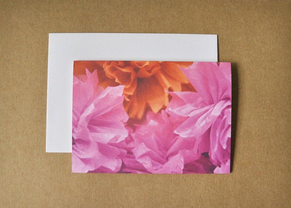 Image of crepe flower tangerine card