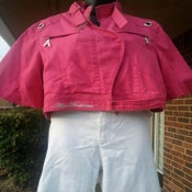 Image of Rare Apple Bottom Hot Pink Denim Puff Sleeve Jacket