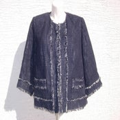 Image of Lane Bryant Navy Blue White Blazer Sz 18