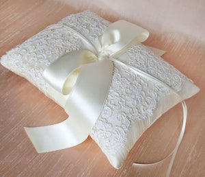 Image of Lena Dupioni Silk and Vintage Ivory Alencon Lace Ring Pillow