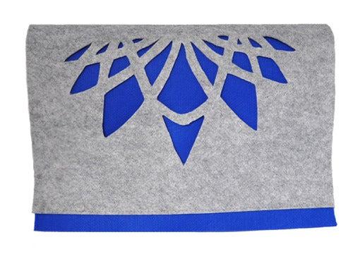 Image of blue grey felt clutch