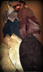 Image of Leather Feather Earrings