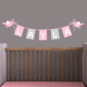 Image of Custom Childs Baby Name Bunting Wall Decal Sticker M009