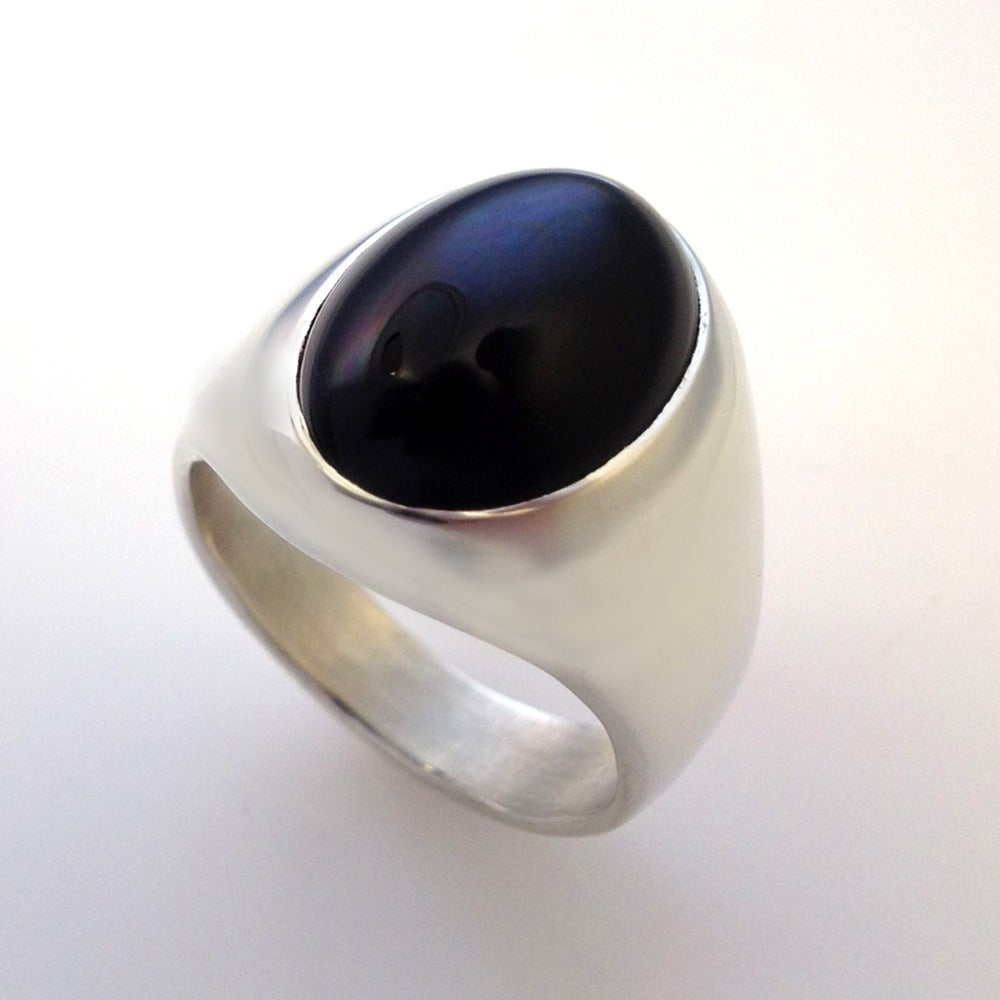Onyx Mens Ring Sterling Silver