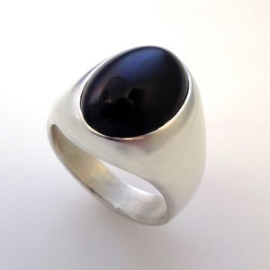 Image of Mens Large Oval Black Onyx Ring in Sterling Silver