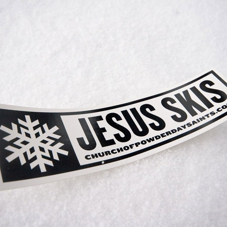 Image of Jesus Skis Sticker (Pack of 2)