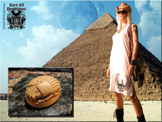 "Image of ""Egyptian Rituals"" Isis & Ankh Dress & Scarab Statue Set"