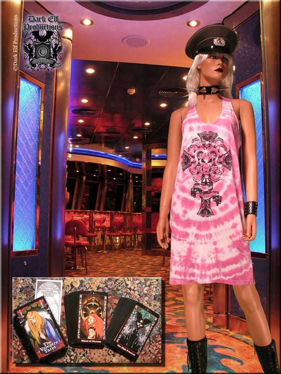 "Image of ""The House Of Bathory"" Tie Dye Dress And Vampire Tarot Deck Set"