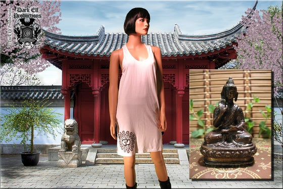"Image of ""Temple Of Zen"" Buddha & OM Dress And Bronze Buddha Statue Set"