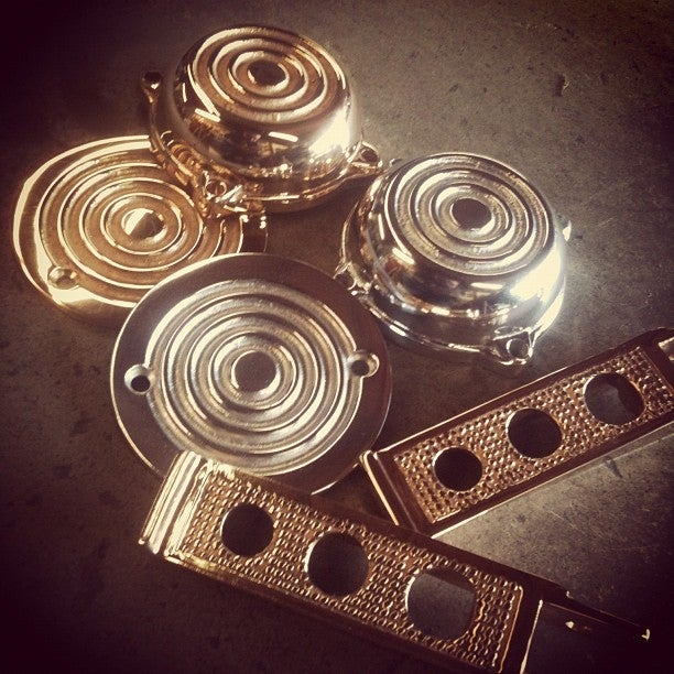 """Image of Old Gold """"Bullseye"""" ignition covers"""