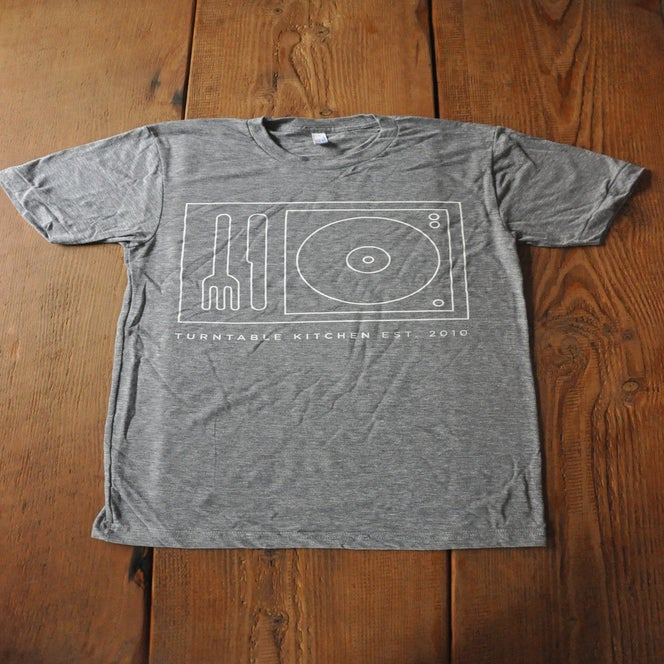 Image of Turntable Kitchen Record Player Heather Gray Tee [Unisex]