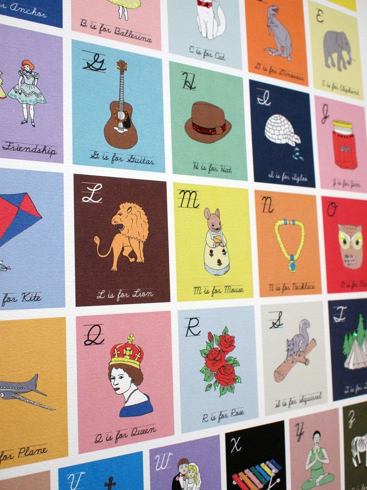 Image of Limited Edition Hand Decorated Alphabet Print (50x70cm)