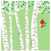 Image of Spring Cardinal Silkscreen Birch Trees Art Print