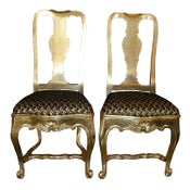 Image of Pair of Antique 18C Queen Anne Silver-Leaf Chairs
