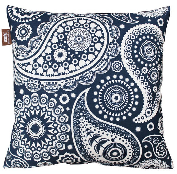 Image of Paisley Crescent Cushion - Indigo