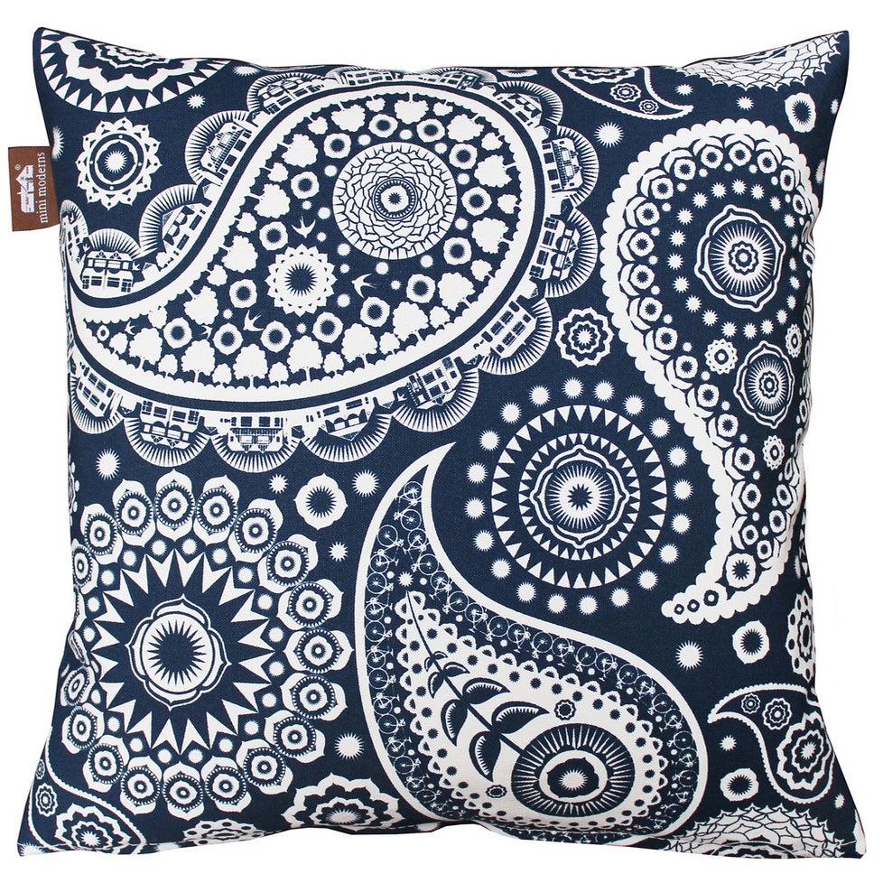 Image of Paisley Crescent Cushion - Indigo