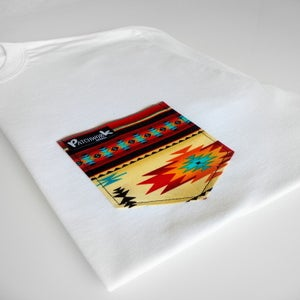 Image of Red Aztec Pocket T-shirt Unisex