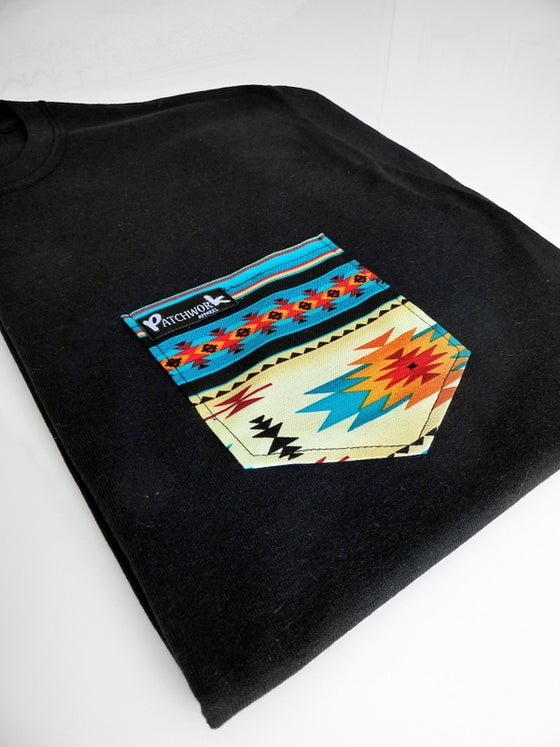 Image of Blue Aztec Pocket T-Shirt