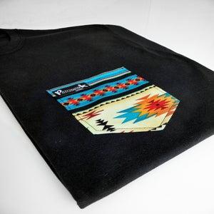 Image of Blue Aztec Pocket T-shirt Unisex