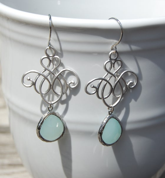 Image of Silver glass drop earrings