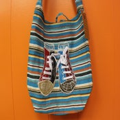 "Image of Aqua Striped ""Kicks"" bag"