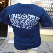 Image of Love cycles Navy Blue tee lighting bolts silver logo