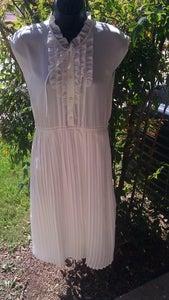 Image of Vintage 50's Ivory Ruffle Swing Dress Sz Medium or Small