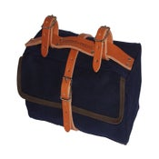 Image of Moss Saddlebag | 24oz Waxed Cotton | Navy Blue