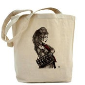 Image of THE GIRL WITH THE RED SCARF canvas tote bag