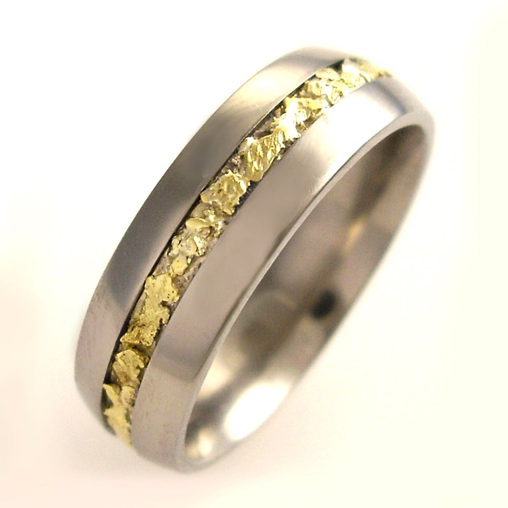 Image Of Unique Anium Band With Gold Nuggets