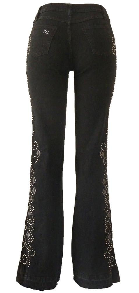 Image of Black 'Diamond Heart' Jeans LQF2007BLSVP